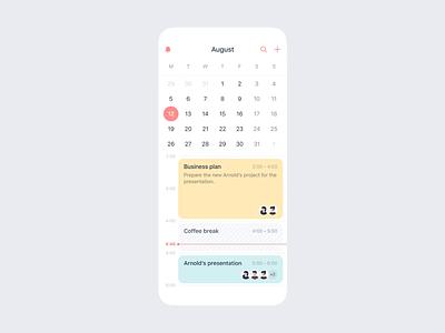 Improved Calendar app busy business pastel event calendar todo productivity task ios mobile app