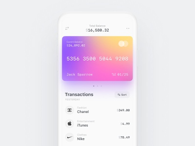 Account transactions — banking app investment investing financial finances cashback debit app mobile ios transactions banking white credit cards business finance bank fintech