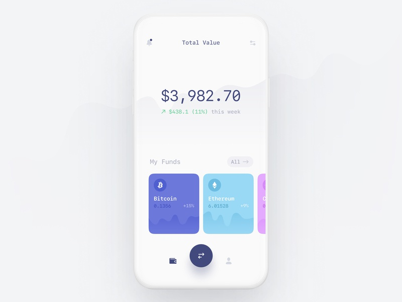 Cryptocurrency wallet finance financial banking investing investments ios mono white space minimalist minimal card mobile app cryptocurrency crypto white