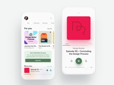 Podcasts subscription books audio podcasts business green minimalist clean white mobile ios app