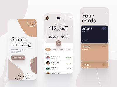 Smart banking currency money balance cards credit fintech financial finance biege mobile ios app