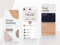 Smart banking currency money balance cards credit fintech financial finance biege mobile ios app