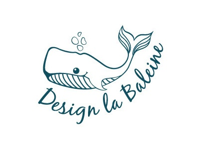 Design La Baleine Logo whale logo design line animal sea identity branding water blue ocean illustration retro