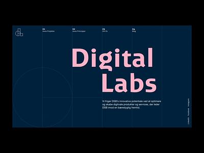 DSB Digital Labs page loading motion system blue labs. digital animation grid loading logo desktop web design web
