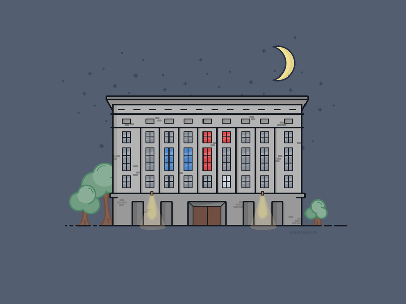 Berghain by night techno night building digital illustration berghain