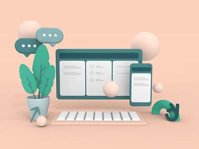 3D illustration made for Telco Relatel colors pink identity web branding vector design soft 3d illustration