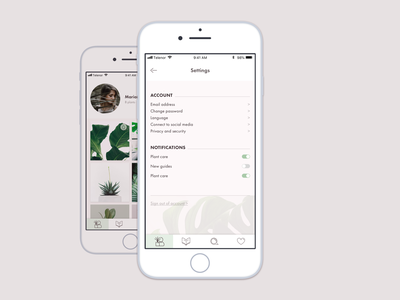 Settings for plant app settings plant app ui design daily ui 007 daily ui