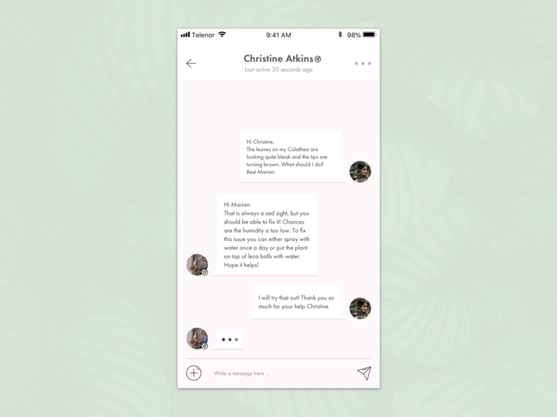 Direct Messaging for Plant App direct messaging daily ui 013 concept plant app minimal app ui daily ui ui design