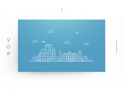 Eatme illustration urban scape city scape card outline three line illustration icon house cloud city bachoodesign