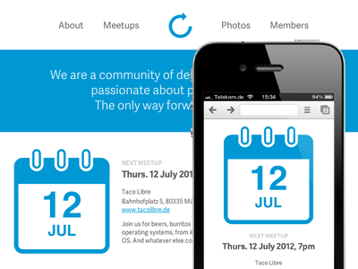 Refresh Redesign minimalist clean calendar css fluid grid responsive ux mobile