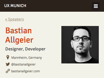 UX Munich speakers page (mobile) responsive mobile phone html css