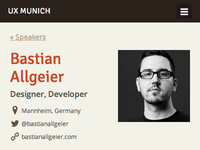 UX Munich speakers page (mobile)