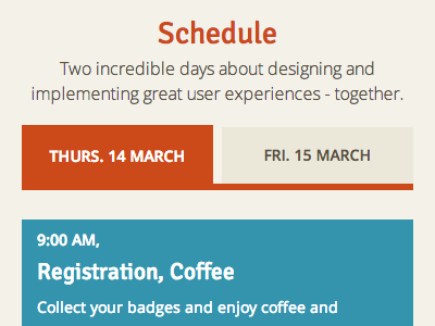 UX Munich schedule (on mobile) responsive html css conference schedule