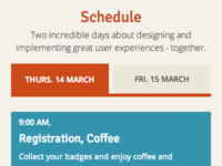 UX Munich schedule (on mobile)