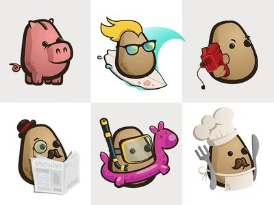 More mascot uses potato character mascot logo illustration vector