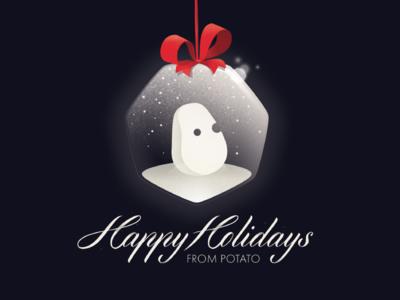 Snowtato holiday christmas vector potato logo illustration