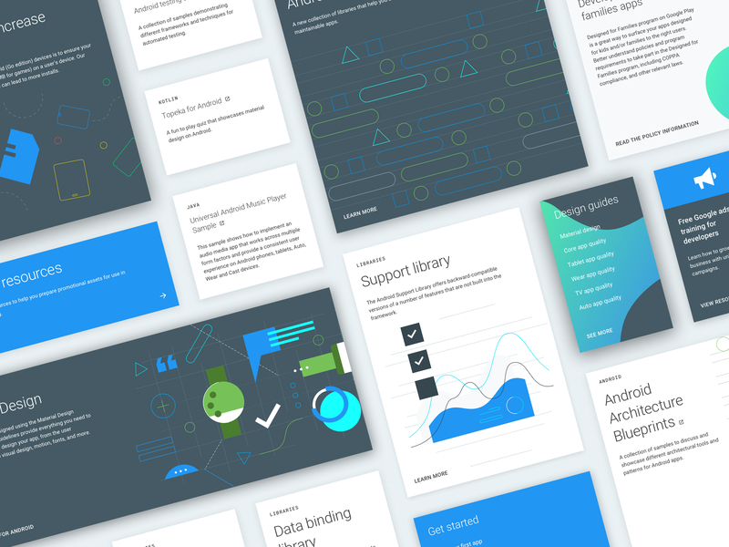 Android Developers: Docs cards ui cards documentation developers android google design web