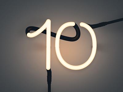 Ten as neon number neon light photoshop illustration