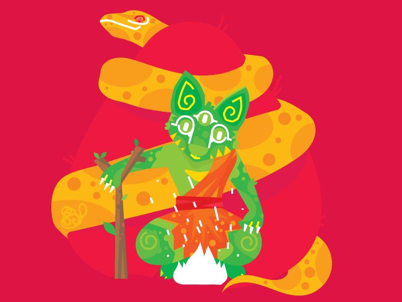 Catswamiji on Shivarathiri vector art direction art character illustration