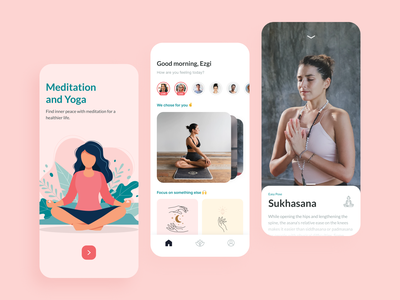 Meditation & Yoga App youth app design meditations yoga pose video education application app uxui ux ui lifestyle sport streaming course course app yoga app meditation app yoga meditation