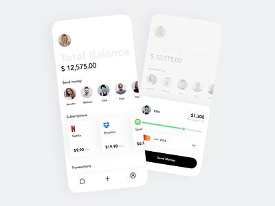 Money & Subscriptions Management App banking app mastercard transfer money clean ux finance ui app wallet app wallet money app subscription bank fintech
