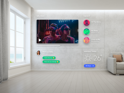 Mixed Reality - Home Kit app weather message music video virtual reality augmented reality home home app design application ui vr ar