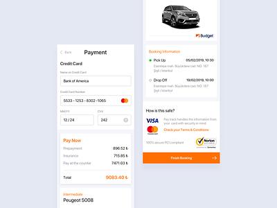 Car Rental Payment System - Web & Mobile pay bank card bank rent a car rentals cards payments payment responsive checkout credit card card car rental rental app rental car concept design ux ui