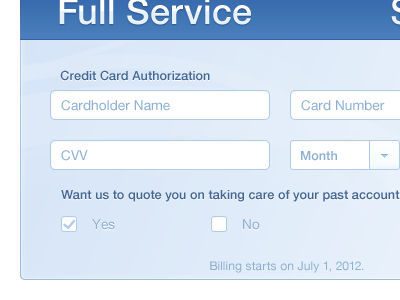 Credit Card Authorization blue ui credit card financial ux money transaction cvv text field form interface white clean