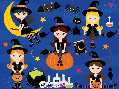 Clipart - Halloween Witches