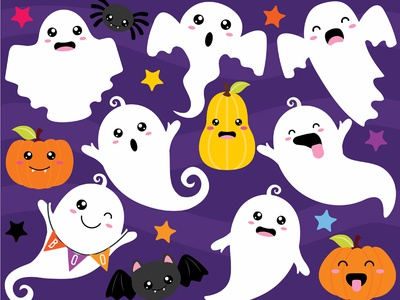 Clipart  - Halloween Ghouls Ghosts