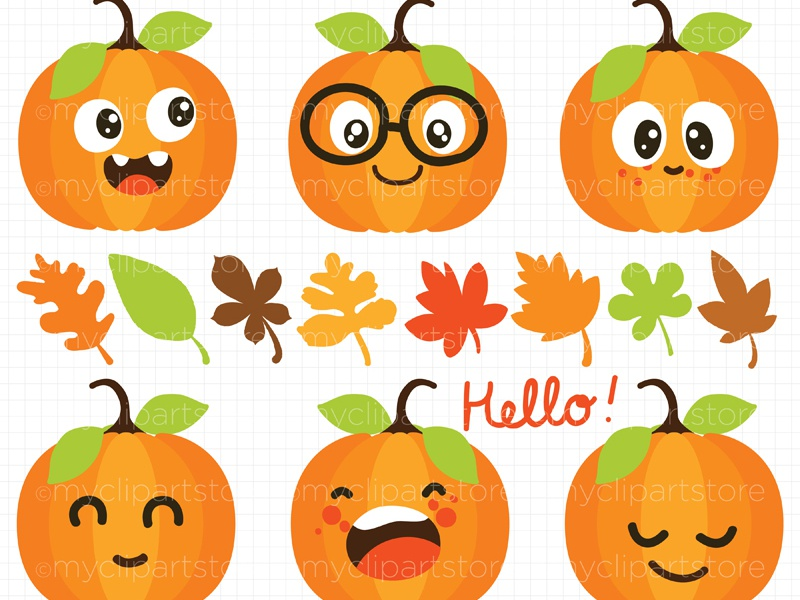 Clipart Fall Cute Pumpkins by Linda Murray on Dribbble