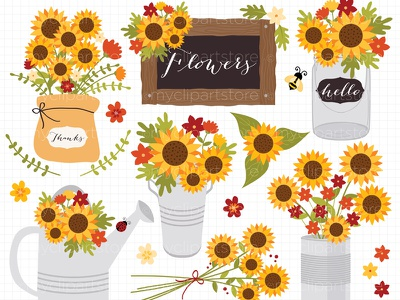 Clipart Cottage Sunflowers / Fall / Autumn Vector Clipart bumblebee mason jars leaves flowers fall autumn clipart sunflowers