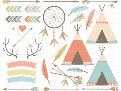 Clipart Tribal Elements / American Indian vector clipart