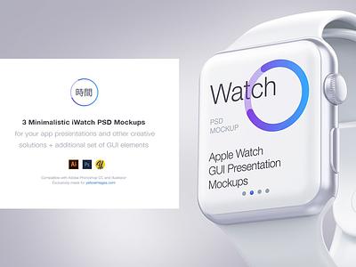 3 Minimalistic iWatch Free PSD Mockups yellowimages design app showcase apple ui mockups free iwatch