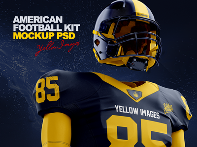 American Football Kit Mockup PSD 3d player kit mockups exclusive clothing clothes boots apparel football american