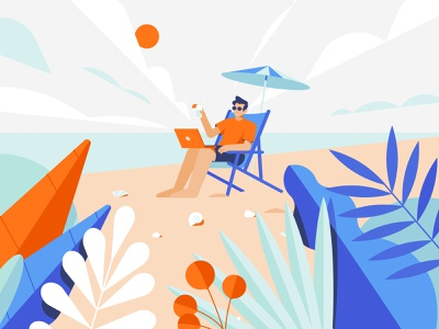 Beach Boy sky coctail vacation chair chaise lounge holiday chill summer shells shore sea sunny boy beach plants character man 2d flat illustration