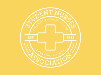 Student Nurses Association Logo flat lines badge health nursing ucf branding rebrand logo