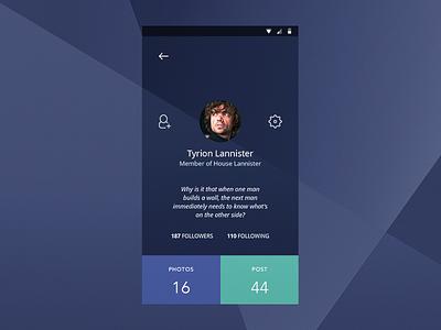 DailyUI #006 - User Profile tyrion got user profile profile user 2 02 002 ux daily ui design