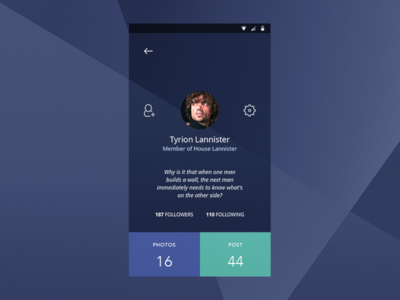 DailyUI #006 - User Profile tyrion got user profile profile user 2 02 002 ux daily ui design