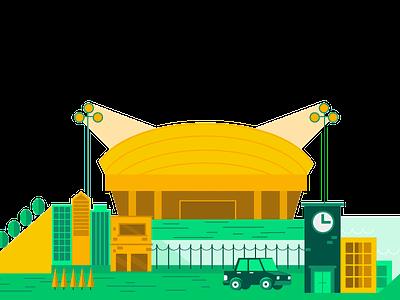 Stadiums illustration car stadium