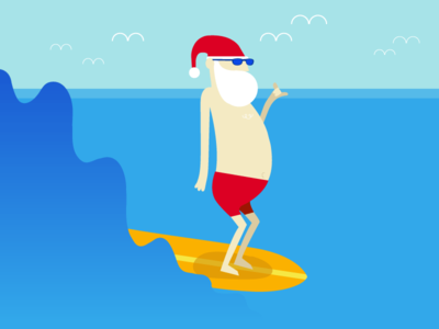 Hottest Places to Spend Your Holiday christmas surf santa ocean waves people illustration vector illustration illustration