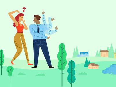 Trulia 404 Page lost trees people illustration vector illustration vector illustration