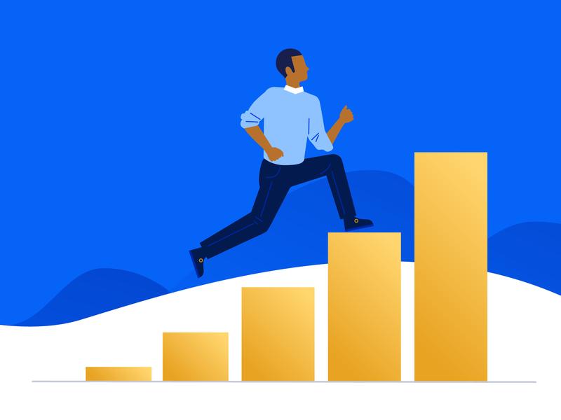 Grow your business graph bar chart growth dataviz people illustration vector illustration