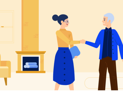 Take a home tour living room fireplace home character vector illustration people illustration vector illustration