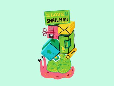 Snail Mail childrensbookillustration mail snail digitalillustration texture animals illustration