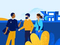 Buyers touring the neighborhood homebuyer sellers agent buyers houses people illustration vector vector illustration illustration