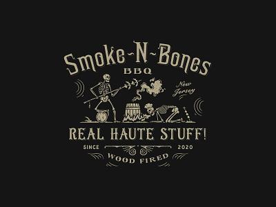 Smoke-N-Bones BBQ skeletons bbq design retro vintage-modern luxury organic hand-drawn rustic sophisticated illustration vintage