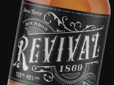 Revival Bourbon sophisticated organic whiskey distillery bourbon victoriantype typeface typography rustic label packagingdesign packaging vintage