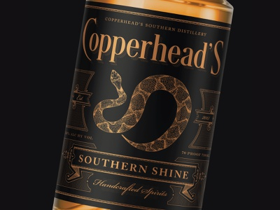 Copperhead's Southern Shine illustration sophisticated luxury hand-drawn etching branding whiskey vintage victorian label packagingdesign packaging spirits