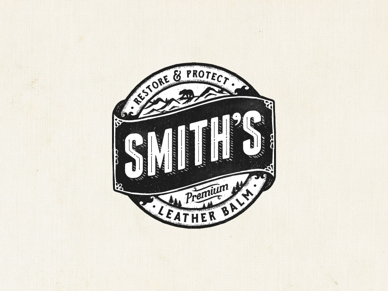 Smith's leather balm classic circle logo leather illustration emblem type logo rustic hand drawn vintage